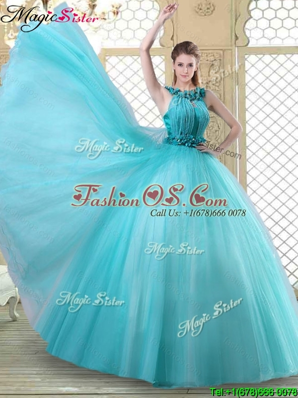 Pretty Bateau Quinceanera Dresses with Ruffles in Teal