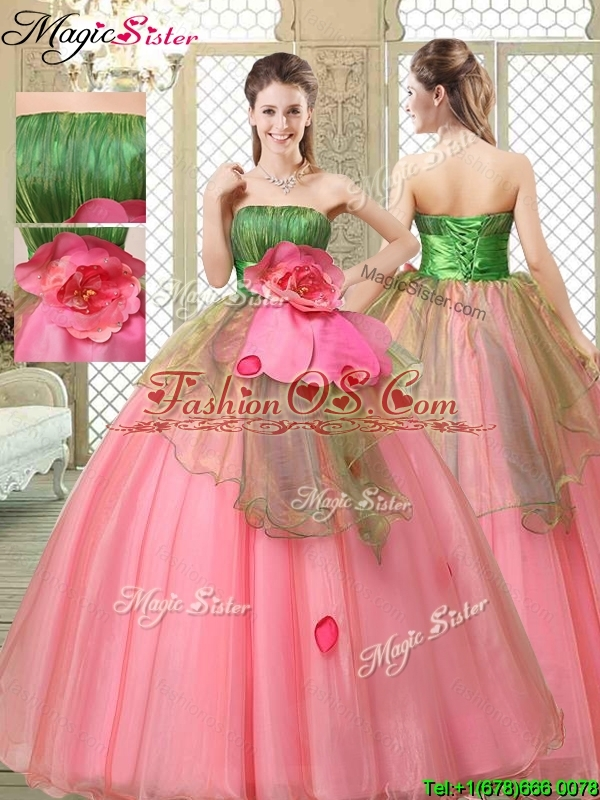The Most Popular Strapless Quinceanera Gowns with Hand Made Flowers