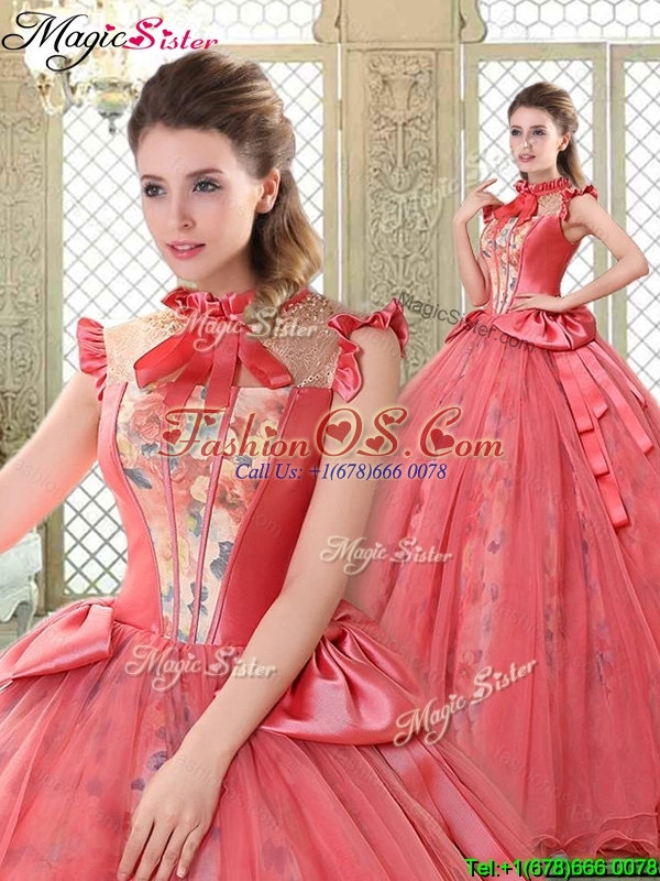 Classical High Neck Cap Sleeves Quinceanera Gowns with Bowknot