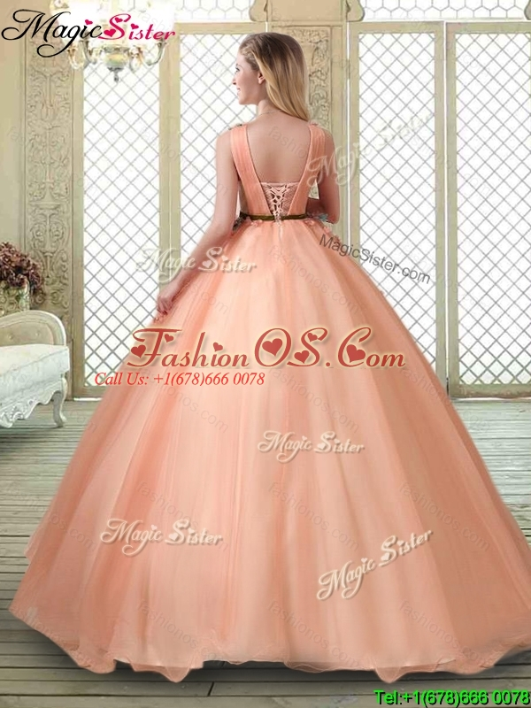 Hot Sale V Neck Sweet 16 Dresses with Appliques and Beading