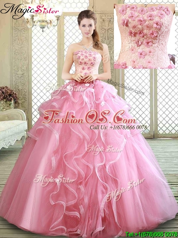 Lovely Strapless Sweet 16 Dresses with  Appliques and Ruffles