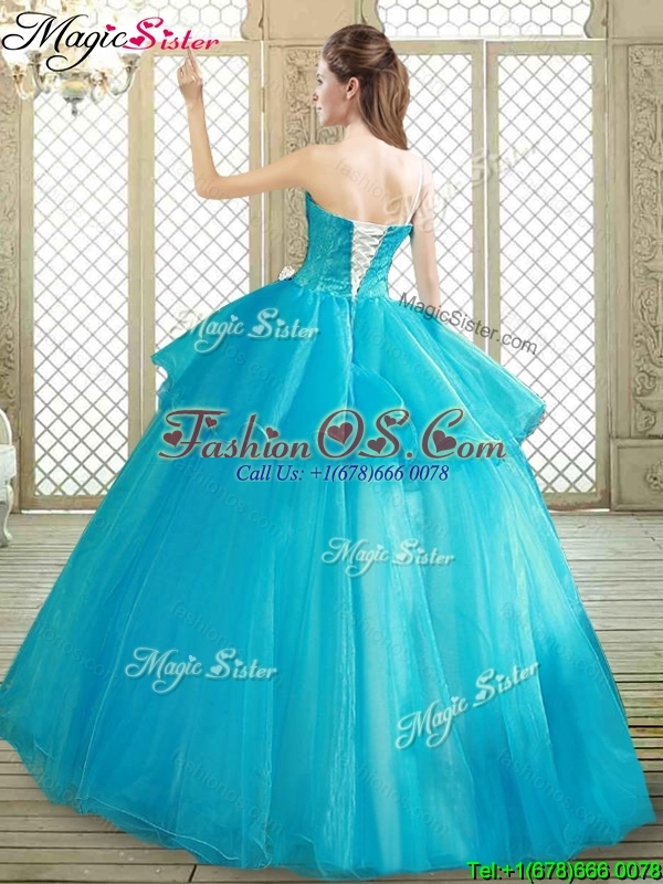 Popular One Shoulder Quinceanera Dresses with Ruffles and Appliques