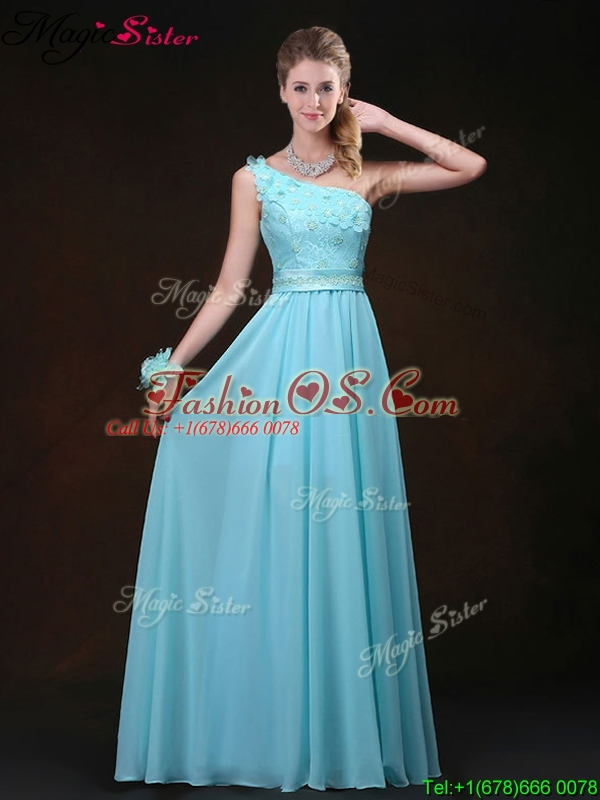 Inexpensive Empire One Shoulder Bridesmaid Dresses with Appliques