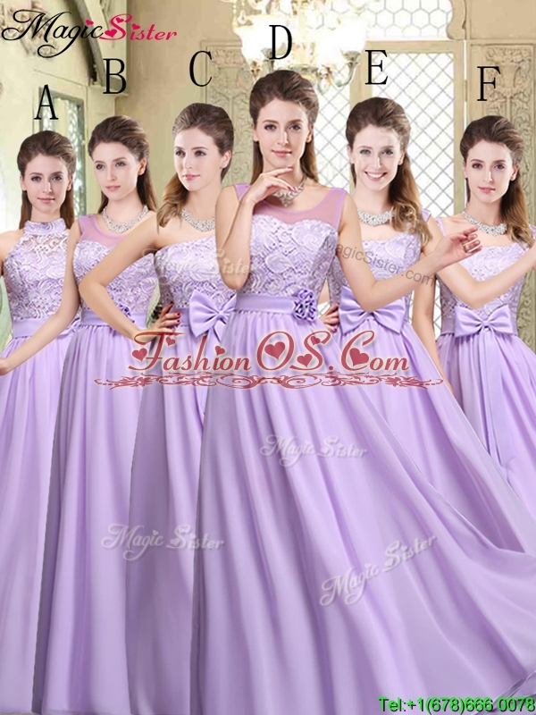 Pretty Scoop Bowknot Lavender Bridesmaid Dresses for Fall