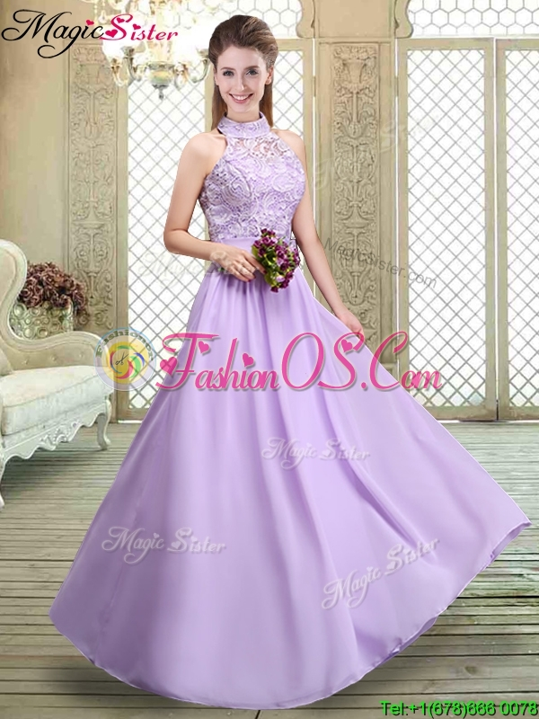 Sweet High Neck Lace Lavender Bridesmaid Dresses