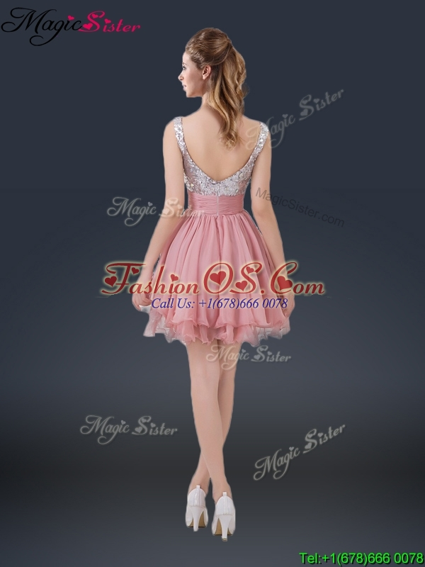 Wonderful Short Straps Paillette Bridesmaid Dresses for Summer