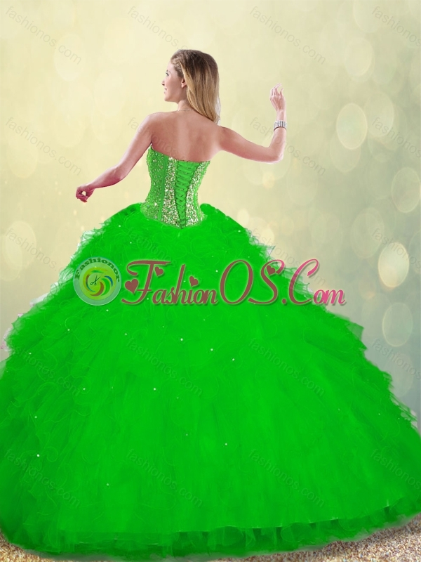 2016 Pretty Ruffles and Beading Detachable Quinceanera Gowns