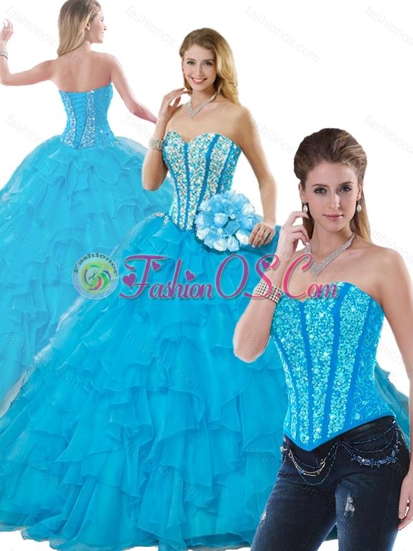 Beautiful Beading Detachable Quinceanera Dresses in Aqua Blue