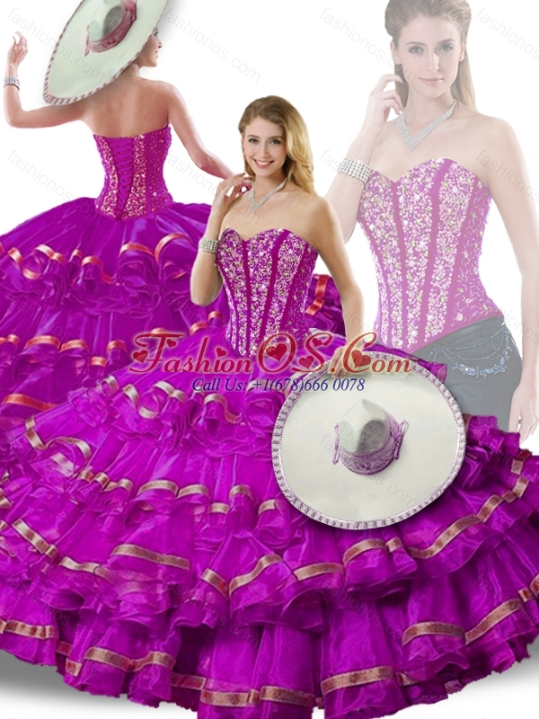Gorgeous Beading and Ruffled Layers Fuchsia Detachable Sweet 16 Gowns