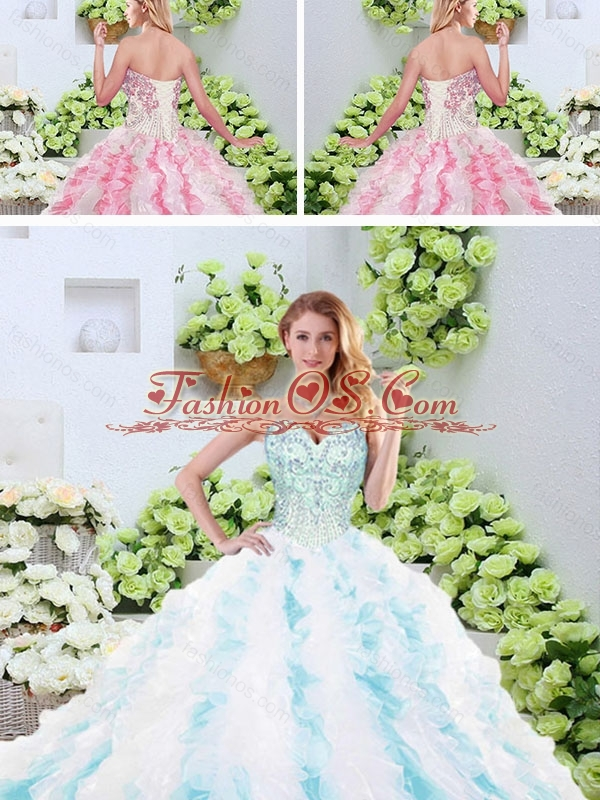 Popular Beading and Ruffles Quinceanera Dresses with Brush Train