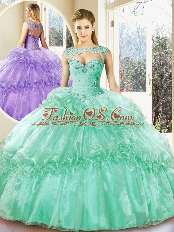 Popular Turquoise Sweetheart Quinceanera Dresses with Beading