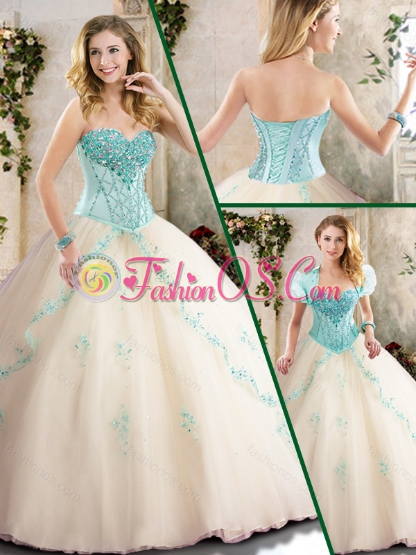 2016 Fashionable Champagne Quinceanera Gowns with Appliques
