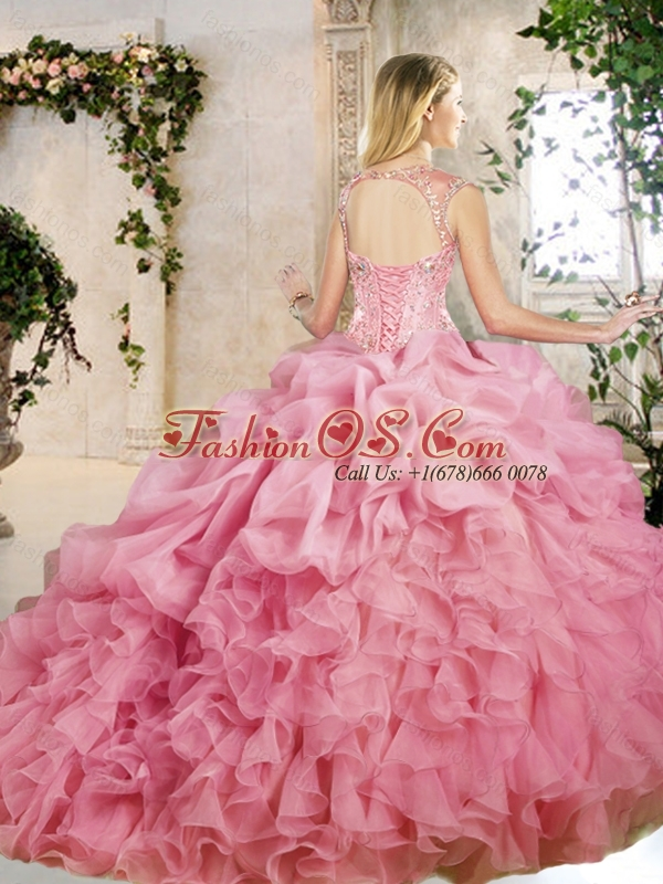 Popular Brush Train Quinceanera Dresses with Appliques and Ruffles