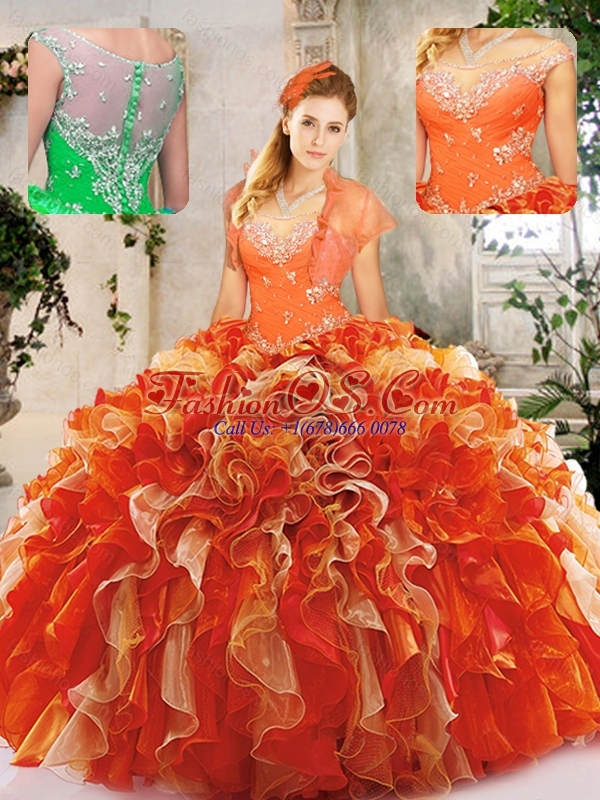 Cute  Scoop Quinceanera Dresses with Beading and Ruffles