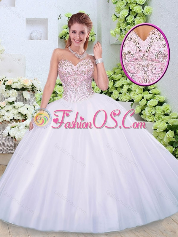 Cute  Sweetheart Beading Quinceanera Dresses in White