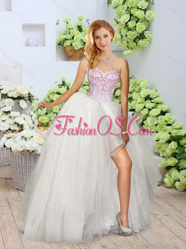 Cute Sweetheart Quinceanera Gowns with Beading and High Slit