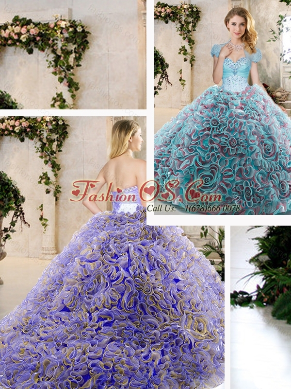Pretty Beading and Ruffles Quinceanera Dresses in Blue