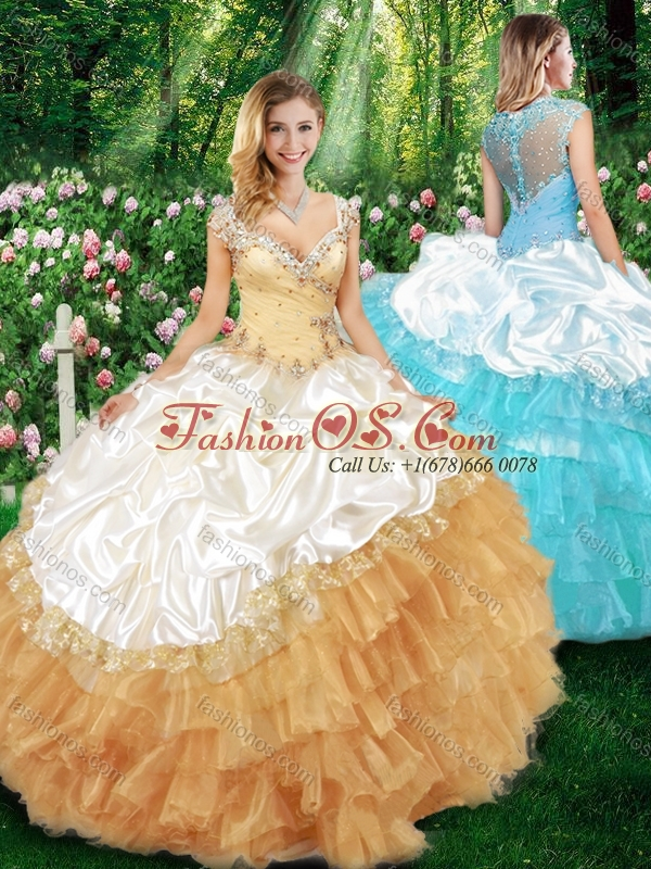 2015 Sweet Ball Gown Champagne Quinceanera Dresses with Beading