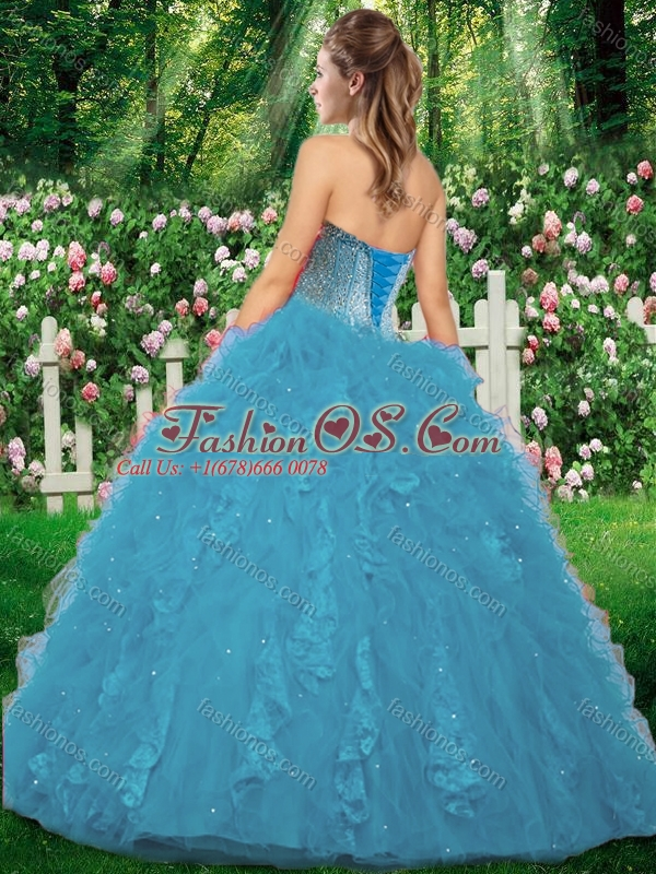 2016 Latest Ball Gown Beading and Ruffles Sweet 16 Gowns for Fall