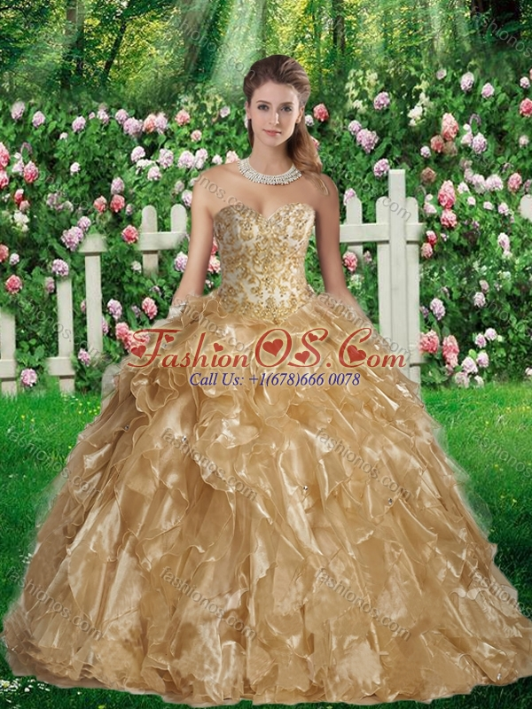 2016 Fashionable Ball Gown Sweetheart Sweet 16 Gowns in Champagne