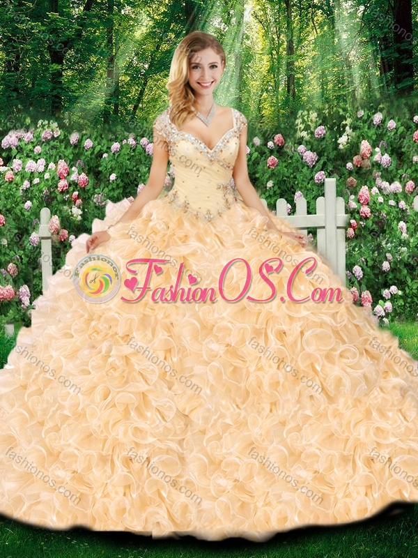 2016 Luxurious Ball Gown Cap Sleeves Quinceanera Dresses with Beading and Ruffles for Fall