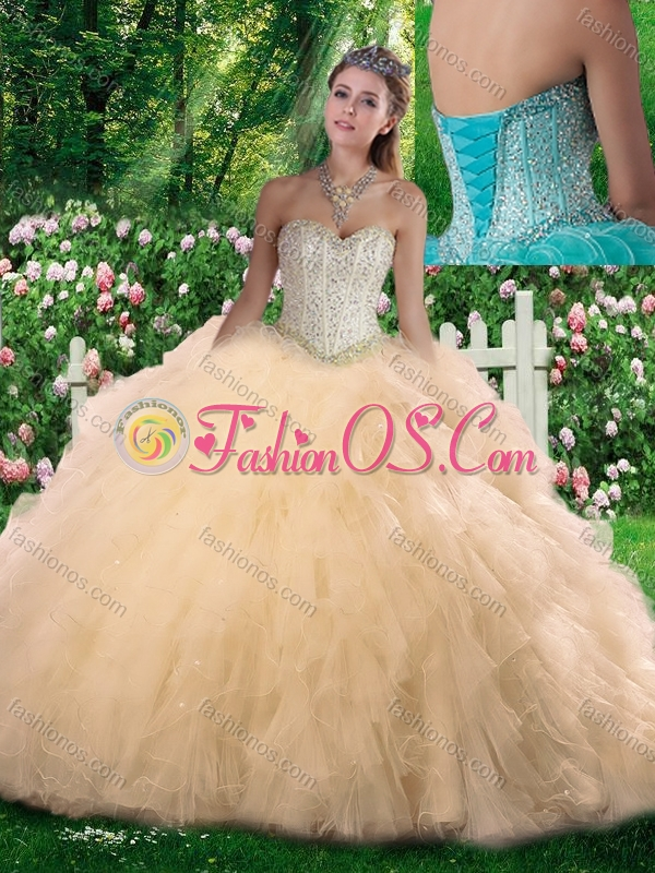 2016 New Style Sweetheart Beading Quinceanera Dressesin Champagne