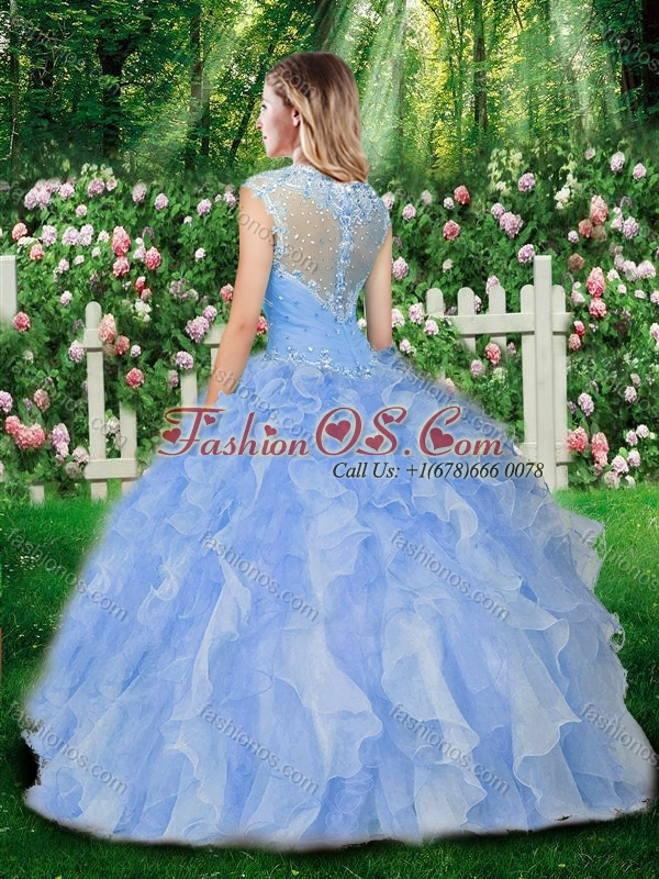 2016 Pretty Straps Quinceanera Gowns with Beading and Ruffles