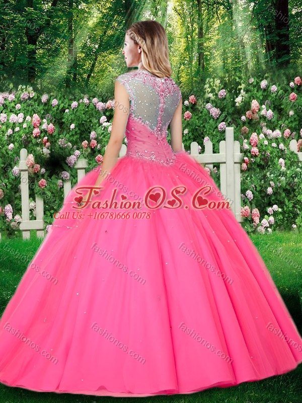 2016 Simple Ball Gown Cap Sleeves Straps Beading Quinceanera Dresses