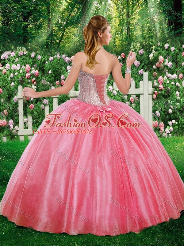 2016 Simple Ball Gown Sweetheart Beading Champagne Sweet 16 Dresses