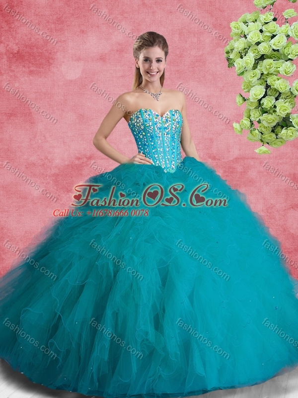 2016 Sweet Ball Gowns Teal Princesita with Quinceanera Dresses with Beading and Ruffles