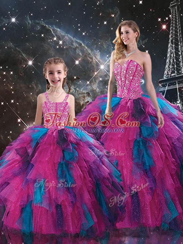 New Style Sweetheart Beading Princesita with Quinceanera Dresses  in Multi Color