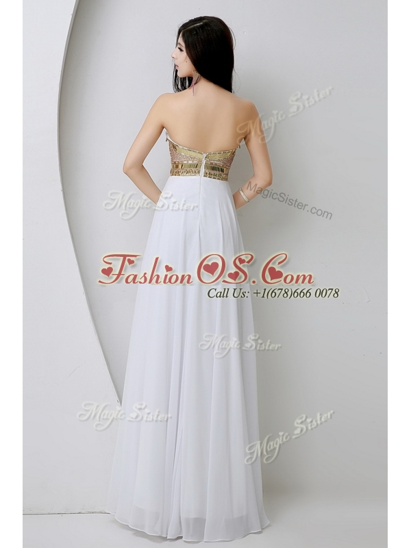 Fashionable Sweetheart White Dama Dresses with Beading and Sequins