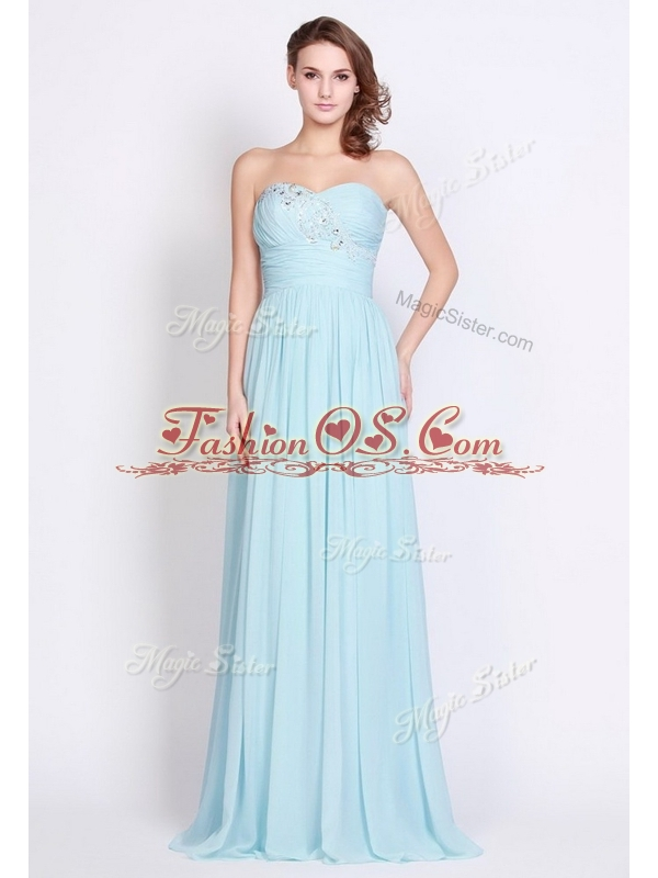 New Style Brush Train Light Blue 2016 Bridesmaid Dresses with Beading and Ruching