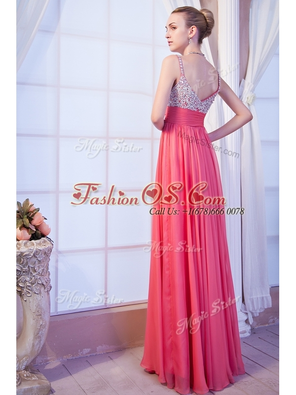 Simple Empire Straps Side Zipper Beading 2016 Bridesmaid Dresses for Evening