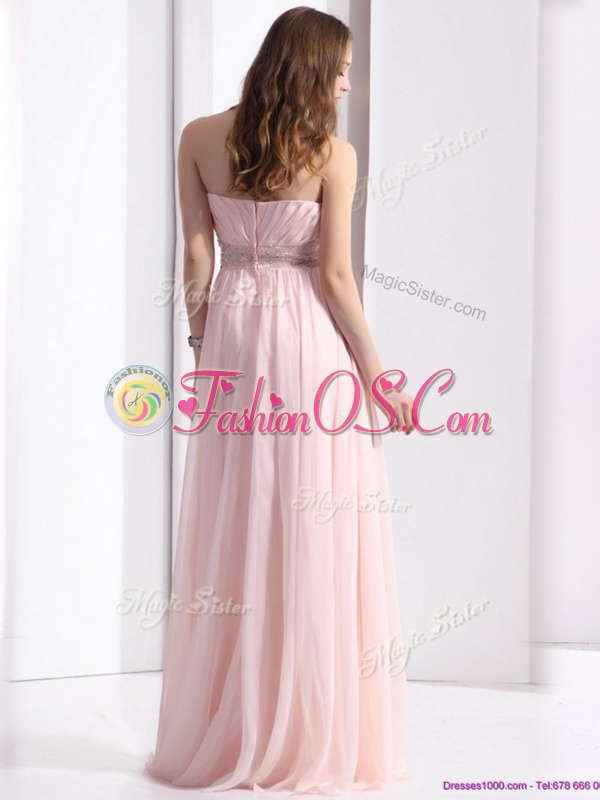 Simple Strapless Beading Long Bridesmaid Dresses in Baby Pink