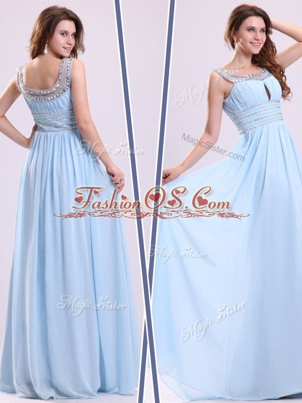 Elegant Empire Straps Sweetheart Dama Dress with Beading