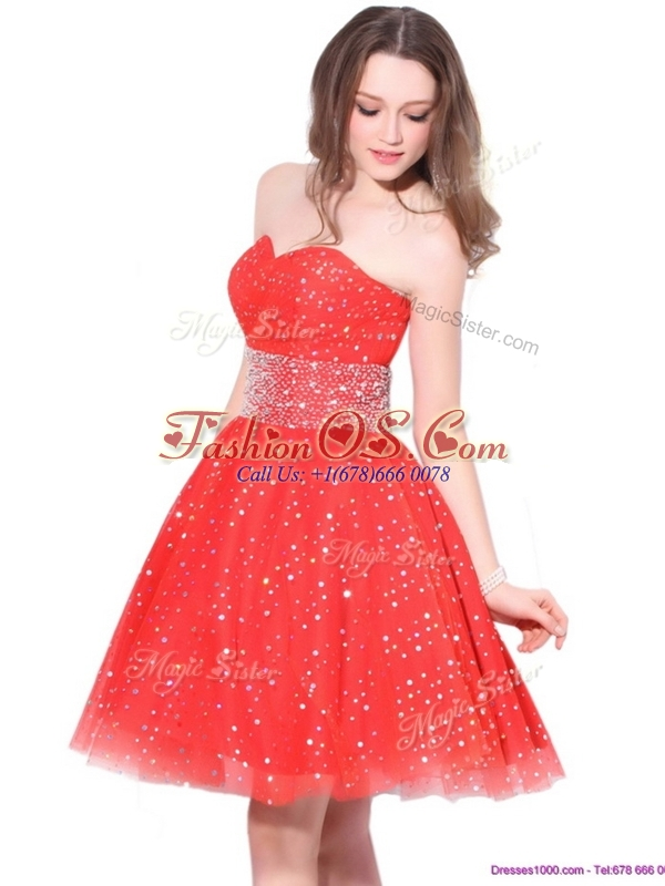 Luxurious Sweetheart Beading Celebrity Dresses in Red for Fall