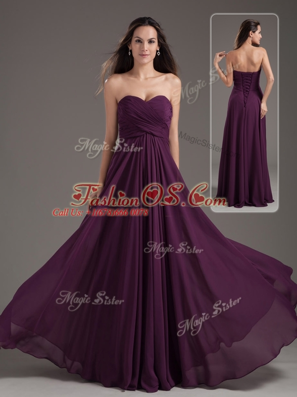 Cheap Empire Sweetheart Ruching Dama Dress in Purple