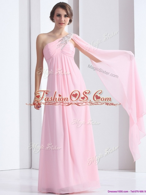 Elegant One Shoulder Baby Pink Dama Dress with Ruching and Beading