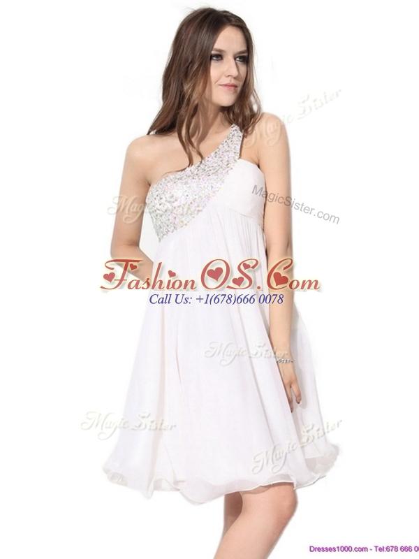 Pretty Short One Shoulder Beading Dama Dress in White