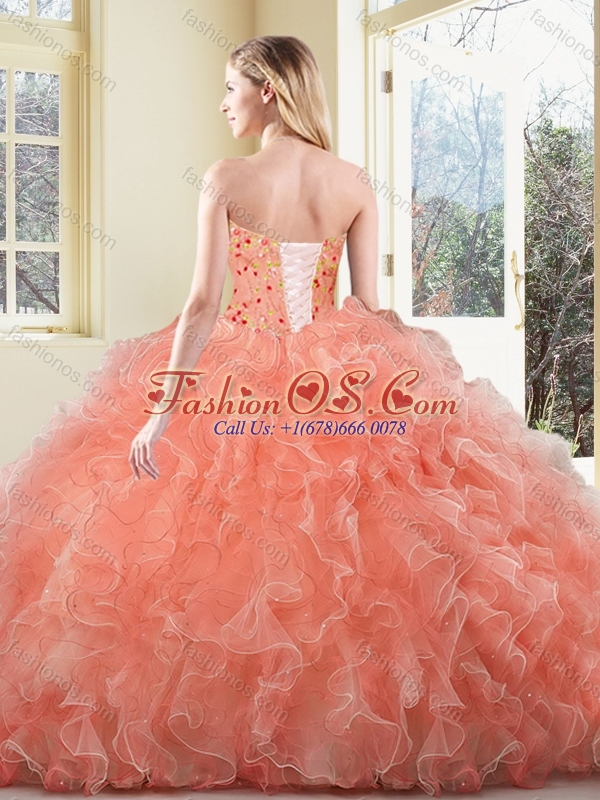2016 Cute  Ball Gown Beading and Ruffles Sweet 16 Quinceanera Dresses