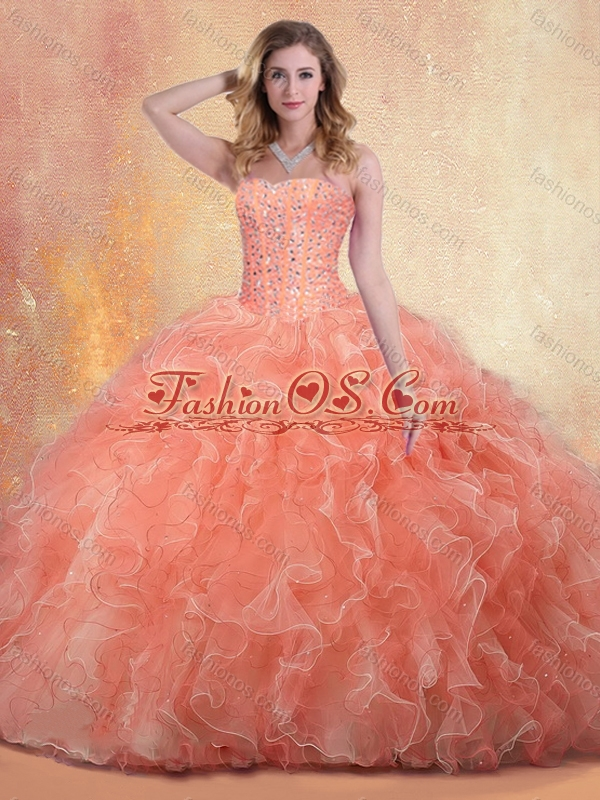 2016 Cute Ball Gown Sweet 16 Quinceanera Dresses with Beading and Ruffles