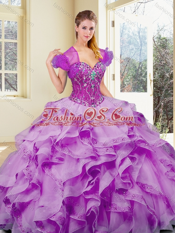Cute  Ball Quinceanera Dresses Sweet 16 Gowns with Appliques and Ruffles 2016