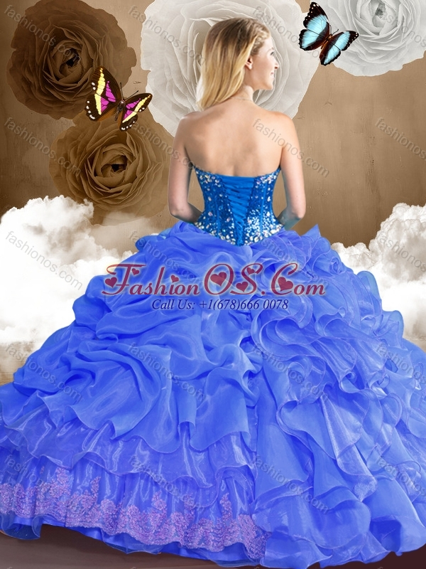 2016 Cute Ball Gown Sweet 16 Quinceanera Dresses with Beading and Pick Ups