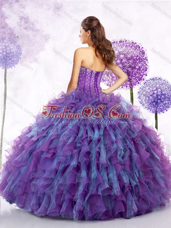 2016 Cute  Strapless Beading and Ruffles Sweet 16 Quinceanera Dresses