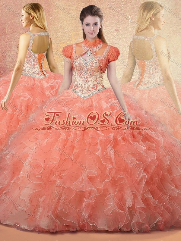 Clearance Straps Open Back Sweet 16 Quinceanera Dresses with Beading and Ruffles
