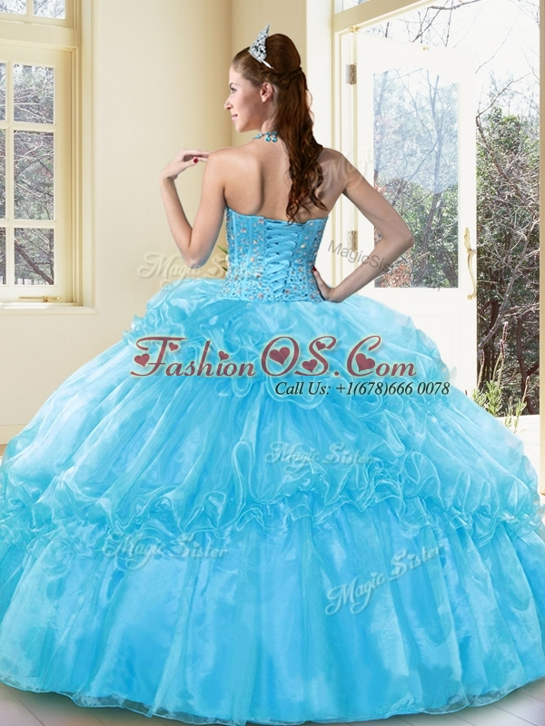 Discount  Ball Gown Aqua Blue Sweet 16  Quinceanera Dresses with Beading and Ruffled Layers