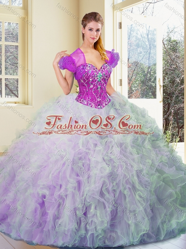 2016 Discount Multi Color Sweet 16 Quinceanera Dresses with Beading and Ruffles