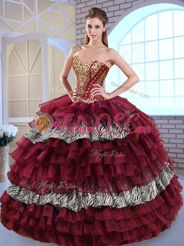 Discount Sweetheart Ball Gown Ruffled Layers and Zebra Sweet 16 Quinceanera Dresses