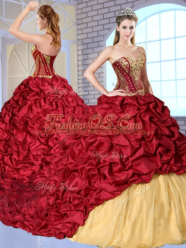 Discount  Sweetheart Brush Train Pick Ups and Appliques Sweet 16 Quinceanera Dresses